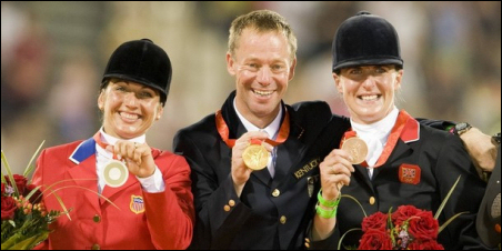 Gina Miles on the left with her silver medal.